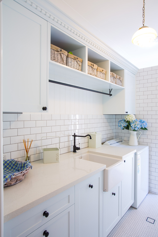Hampton style laundry by makings of fine kitchens for Traditional kitchen handles nz
