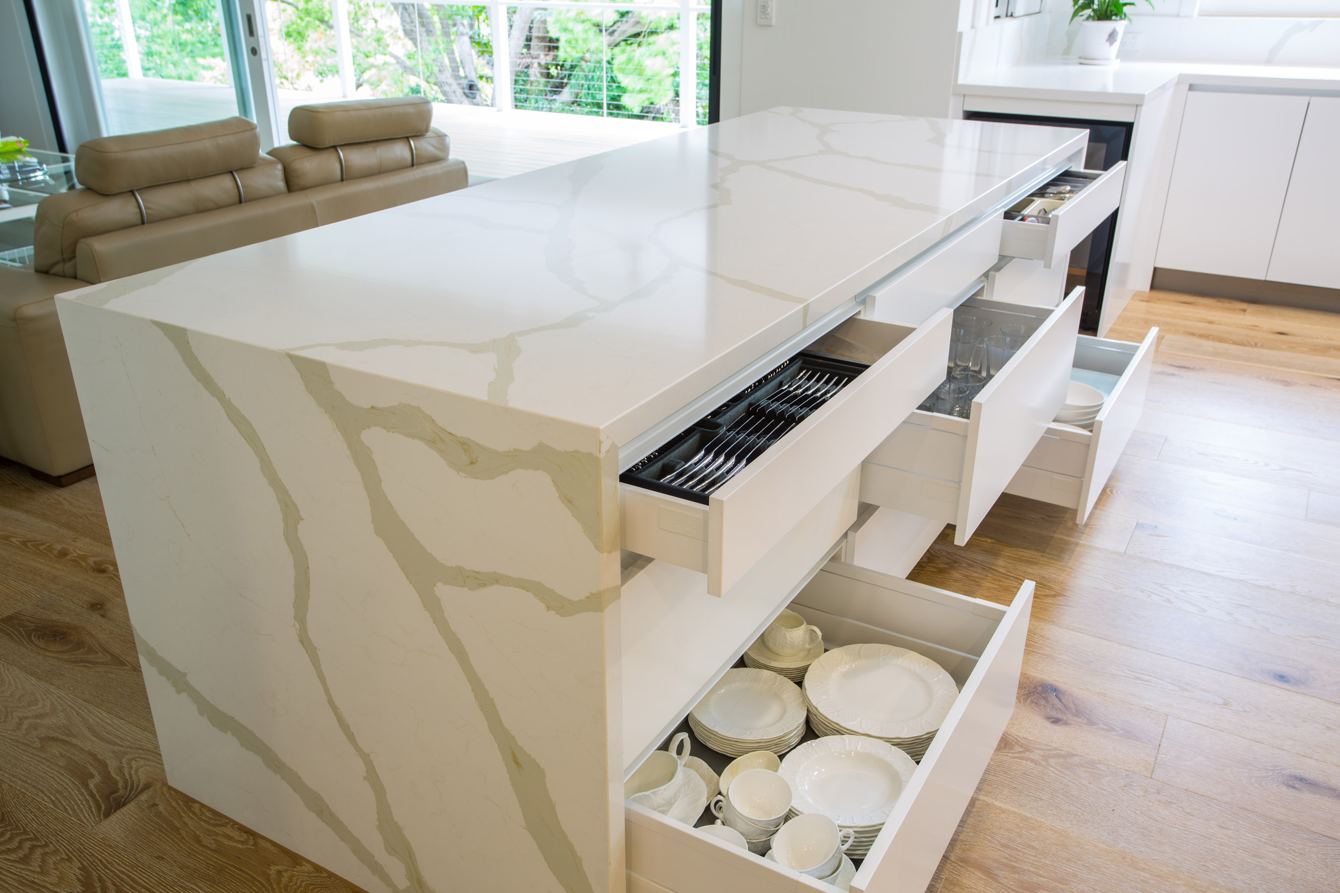 Featuring large Blum tandembox drawers with soft close